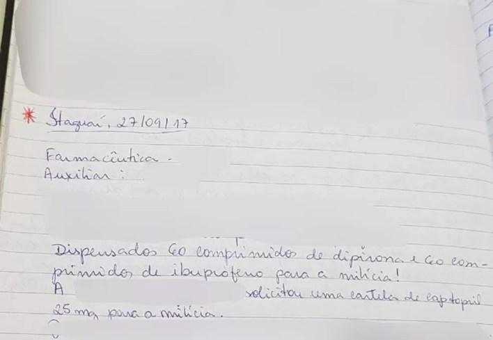 Em anotação de setembro, livro atesta que foram dispensados 60 comprimidos de remédios para a milícia (Foto: Reprodução/Arquivo Pessoal)