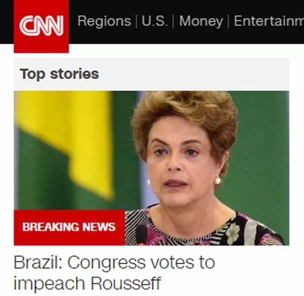 CNN deu destaque à votação e à abertura do processo na TV e em seu site (Foto: Reprodução/CNN)