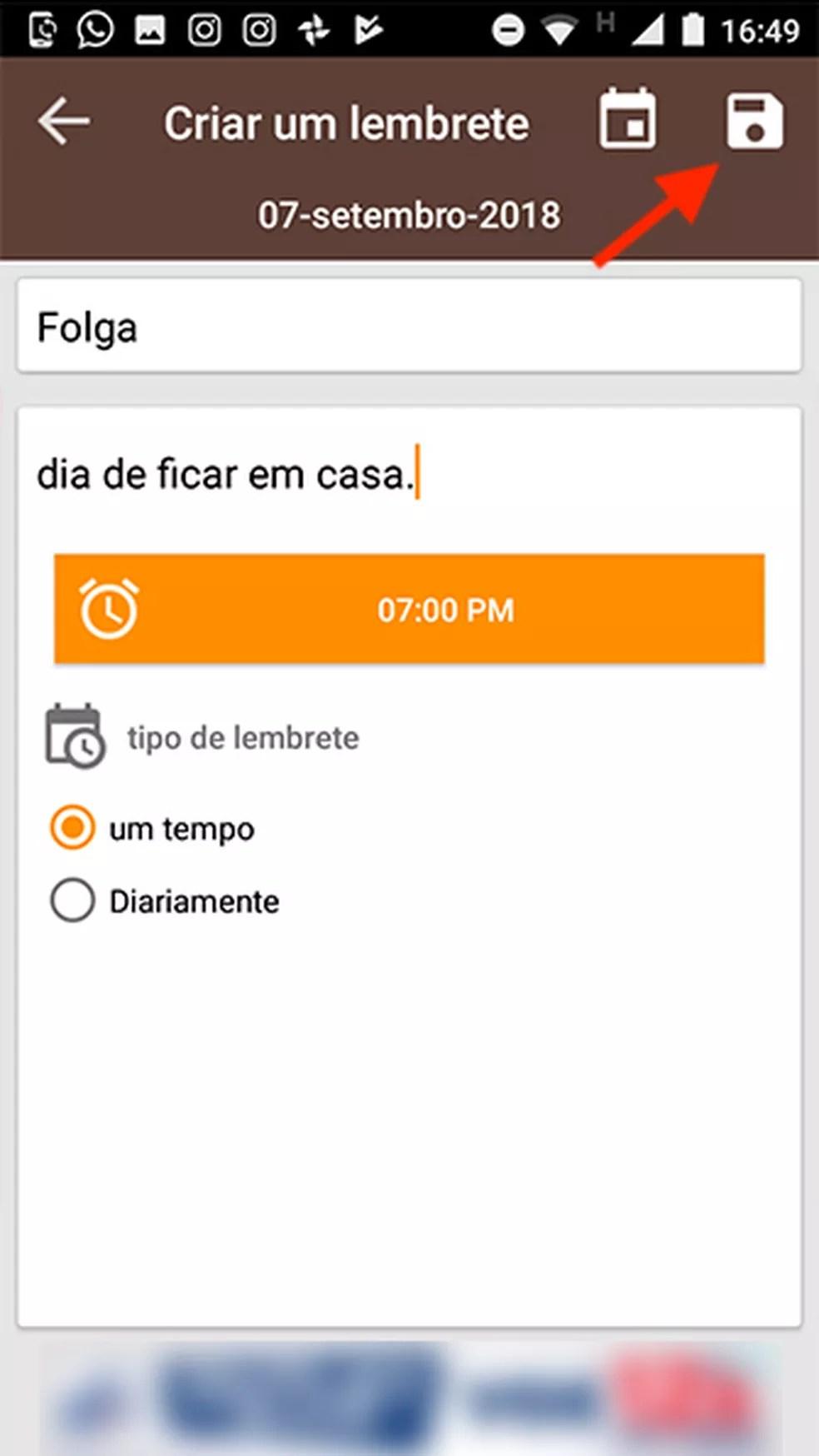 Opção para salvar um lembrete de folga no app Feriados 2018 (Foto: Reprodução/Marvin Costa)
