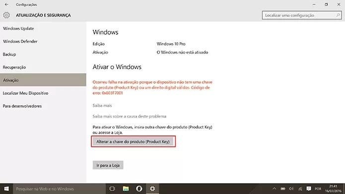 Usuário deve mudar novamente a chave de ativação do Windows 10 (Foto: Reprodução/Elson de Souza)