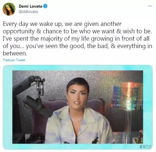 Demi Lovato se assume não-binária nas redes sociais (Foto: Reprodução / Twitter)