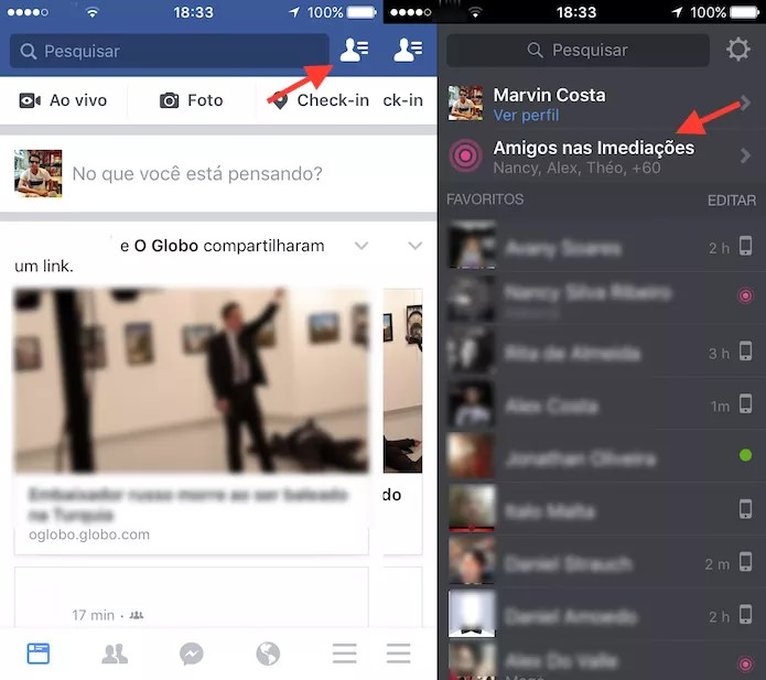 Caminho para encontrar todos os amigos nas imediações com o aplicativo do Facebook para iPhone (Foto: Reprodução/Marvin Costa)