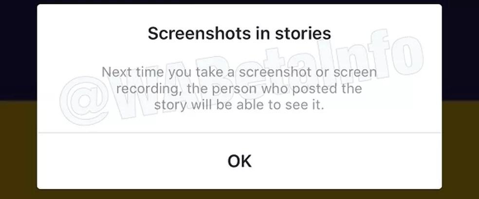 Usuário receberá alerta quando tentar salvar vídeo ou foto do Instagram Stories pela primeira vez (Foto: Reprodução/ WABetaInfo)
