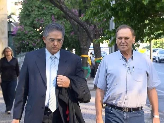 Ex-prefeito de Unaí Antério Mânica, na chegada ao Tribunal da Justiça Federal em Belo Horizonte nesta quarta-feira (Foto: Reprodução/TV Globo)