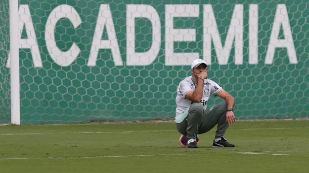 Abel Ferreira no treino do Palmeiras  — Foto: Cesar Greco/Ag Palmeiras