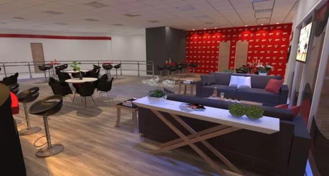 Outra visão do Lounge Bar que será construído no saguão do estádio do Morumbi (Foto: GloboEsporte.com)