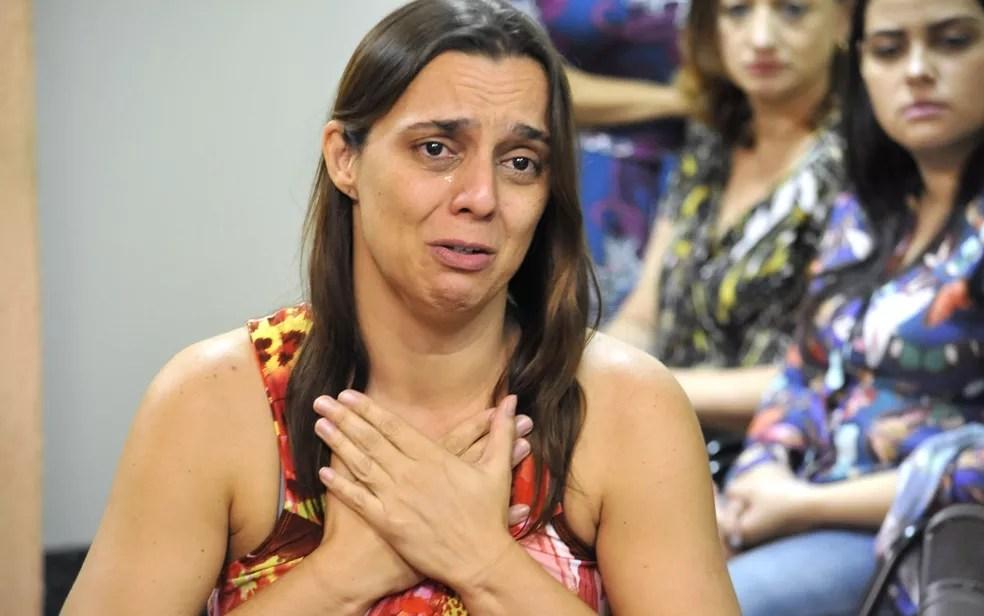 Márcia Zacarelli confessa ter matado a filha (Foto: Aline Caê/TJ-GO)