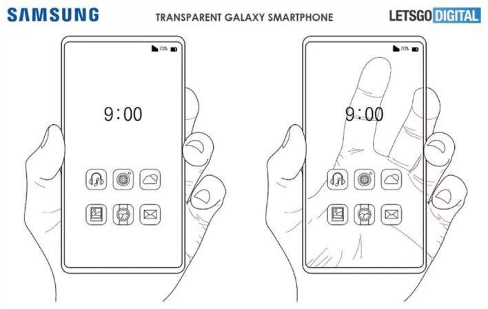 Projeto da Samsung poderá inserir uma tela transparente aos smartphones do futuro  — Foto: Reprodução/LetsGoDigital