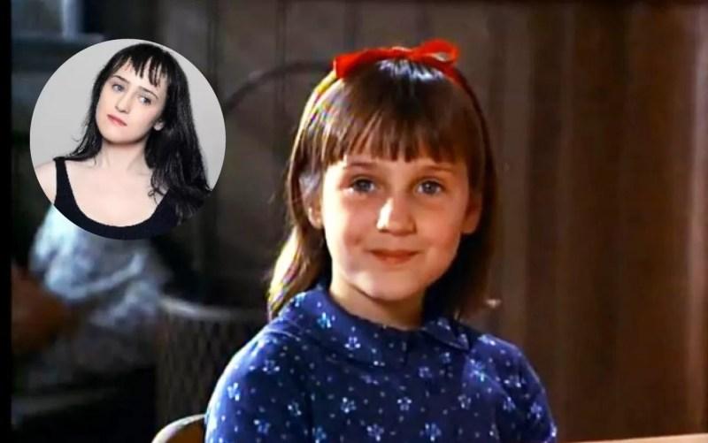 Mara Wilson em cena do filme 'Matilda' (1996) e em clique compartilhado na sua página do Twitter (Foto: Divulgação / Twitter)