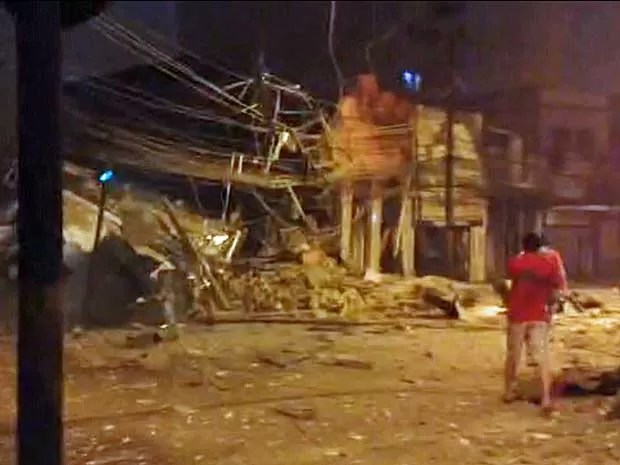 Imagem da destruição após explosão na Zona Norte do Rio (Foto: Reprodução / TV Globo)