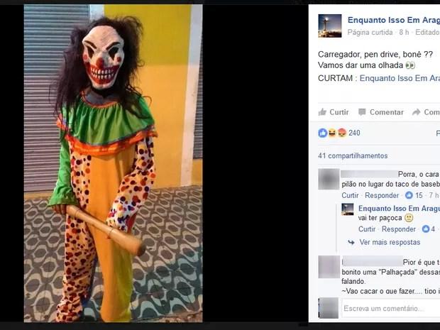 Palhaço fotografado em Araguaína, norte do Tocantins (Foto: Reprodução/Facebook)