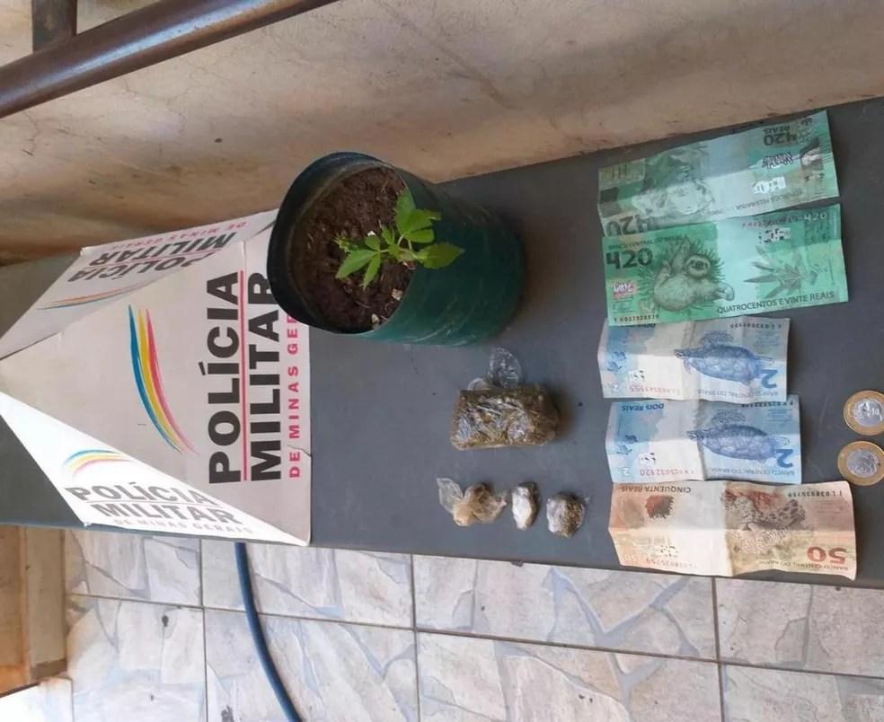 Nota de R$ 420 apreendida pela Polícia Militar em Unaí  — Foto: Polícia Militar
