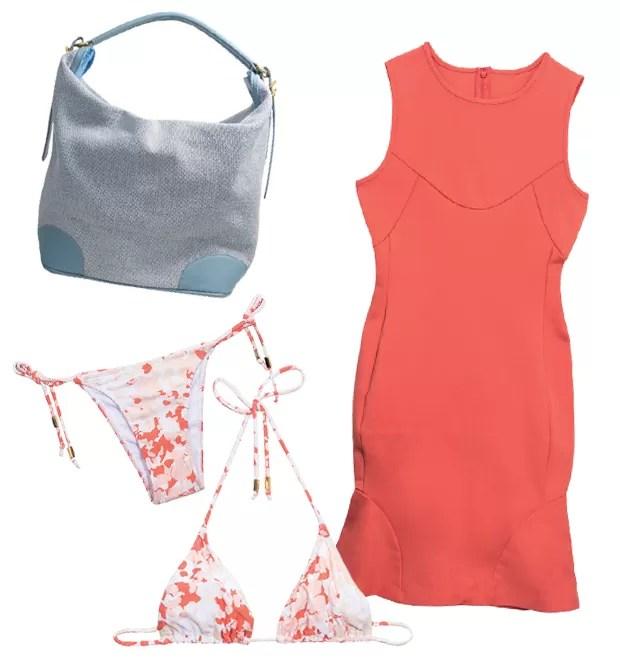 Três destaques da coleção: a bolsa hobo, o vestido com panel work e a linha de beachwear (Foto: Divulgação)