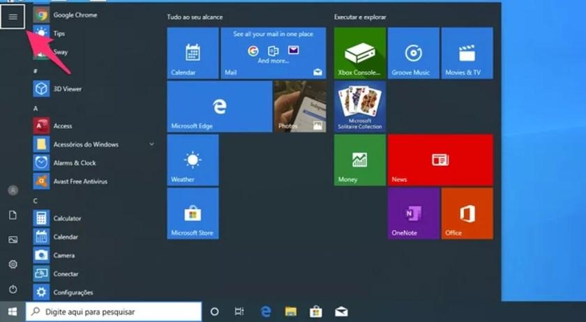 Ação para usar a tecla tab para navegar entre as opções do menu iniciar do Windows — Foto: Reprodução/Marvin Costa