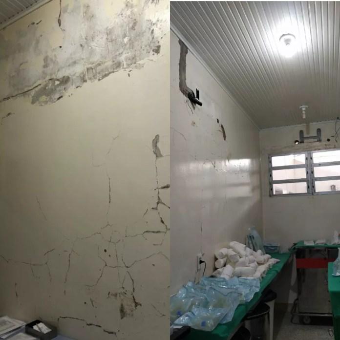 Fiscalização na maternidade achou paredes descascadas e faltando manutenção  — Foto: Arquivo/Coren-AC