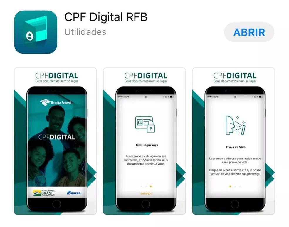 Aplicativo CPF Digital, da Receita — Foto: Reprodução
