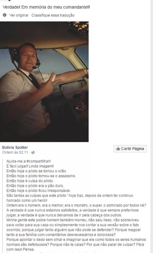 Comissária desabafou e defendeu o amigo piloto (Foto: Reprodução Facebook)