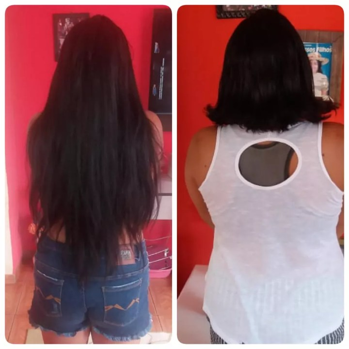 Mulher cortou o cabelo em MS para ajudar a tia doente  — Foto: Néia Bernal Ortiz/Arquivo pessoal