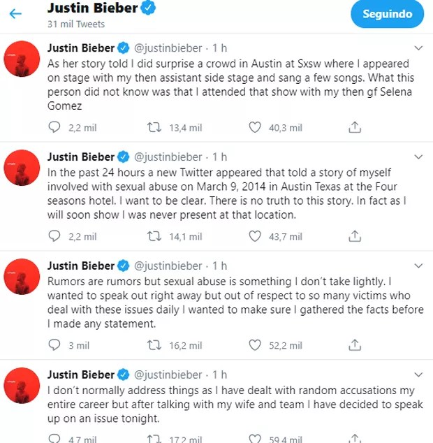 Justin Bieber nega acusações de estupro (Foto: Reprodução Instagram)