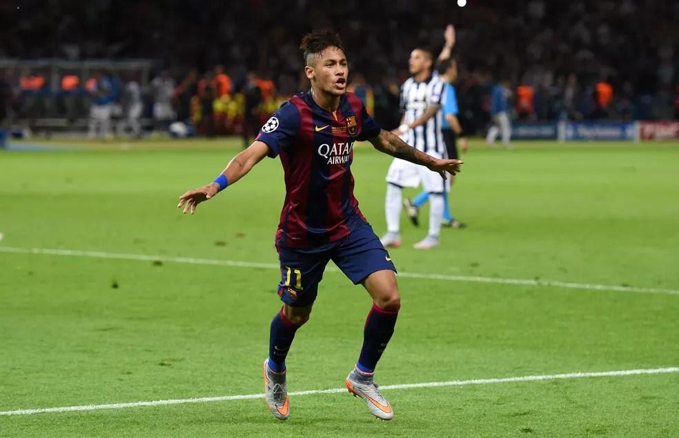 Neymar fez gol na final da Champions 2014/15, quando foi artilheiro ao lado de Messi e Cristiano Ronaldo — Foto: Getty Images