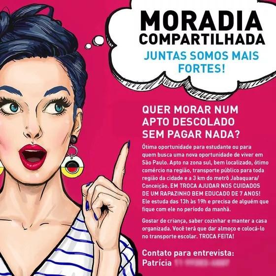 """Em anúncio, a designer Patrícia Gomes Benfica ofereceu moradia em um """"apartamento descolado"""" em São Paulo. Em troca, a pessoa deveria ajudar nos cuidados de seu filho (Foto: Reprodução)"""