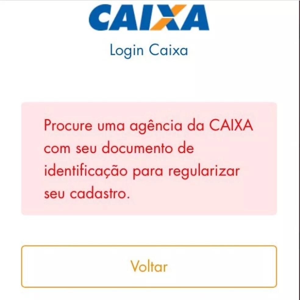 Mensagem recebida por Leuciene Cristiane de Oliveira Santos no aplicativo da Caixa Tem — Foto: Arquivo pessoal
