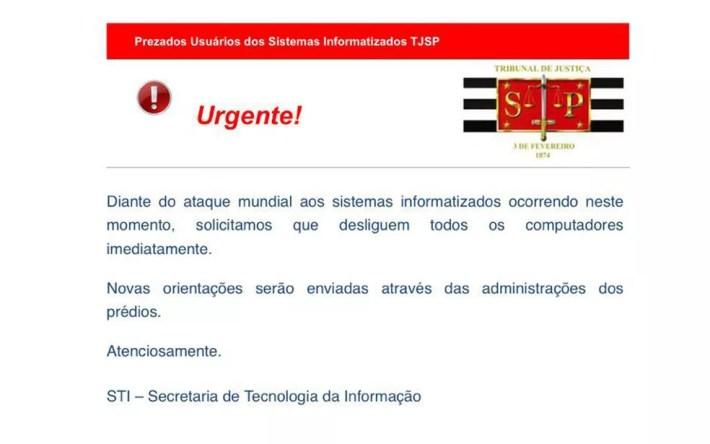 E-mail que circulou entre funcionários do TJ de São Paulo (Foto: Reprodução)