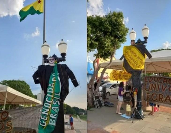 Manifestantes fizeram ato contra o presidente Bolsonaro no Acre — Foto: Arquivo pessoal