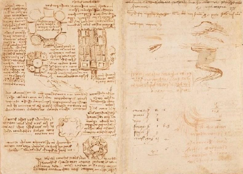 Trecho de um caderno de notas de Leonardo DaVinci, mantido pelo gênio em 1508 (Foto: biblioteca britânica)