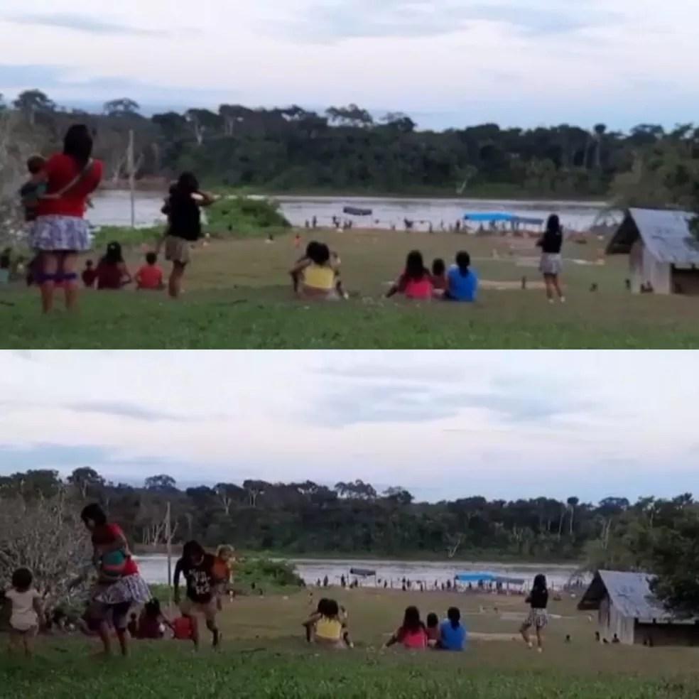 Mulheres e crianças correm ao ouvir disparos — Foto: Reprodução