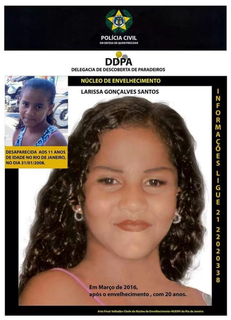 Envelhecimento feito pela DDPA mostra como Larissa estaria em 2016, com 20 anos de idade (Foto: Divulgação/Polícia Civil)