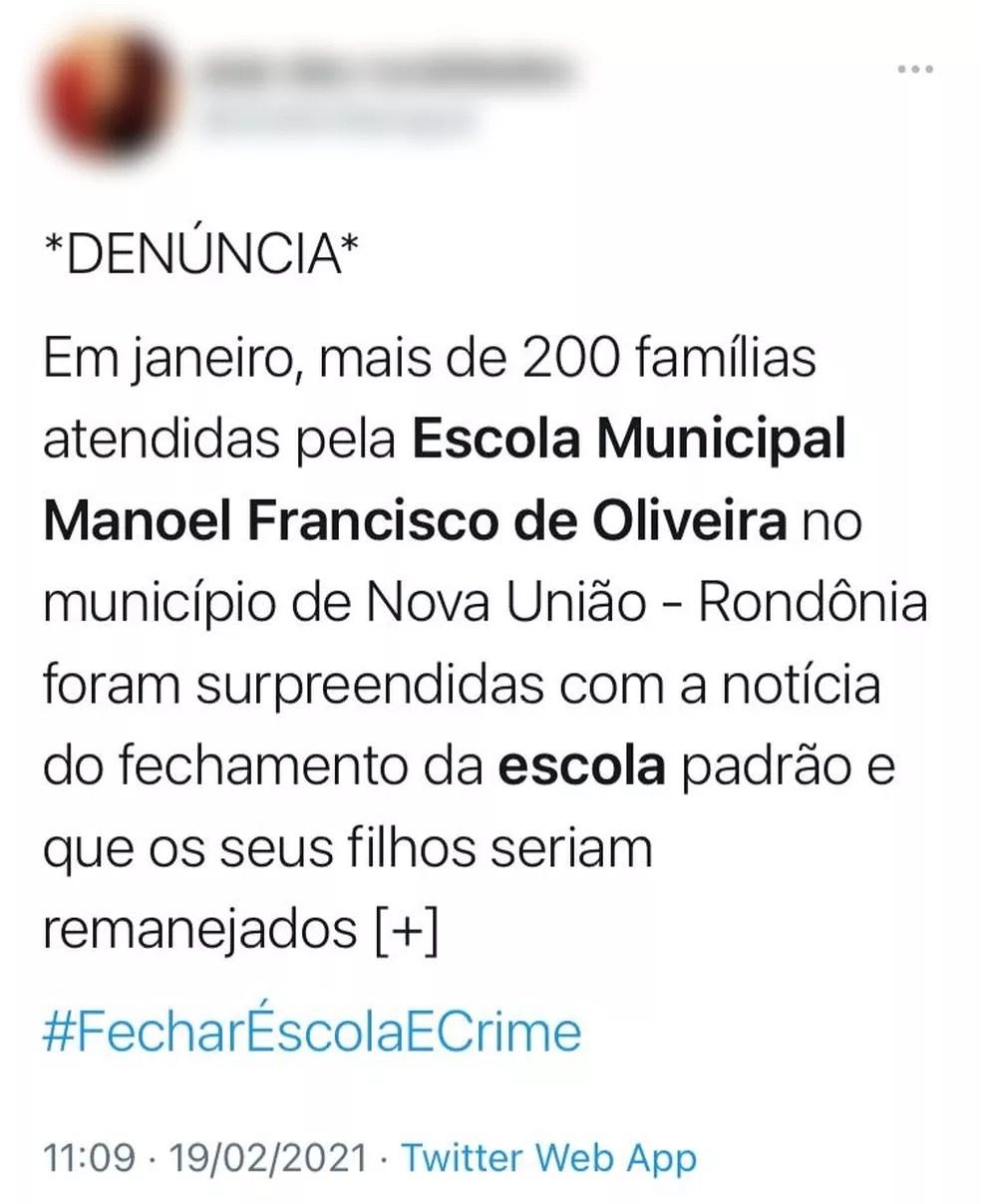 Internautas criticam decisão da prefeitura de Nova União — Foto: Reprodução/Twitter