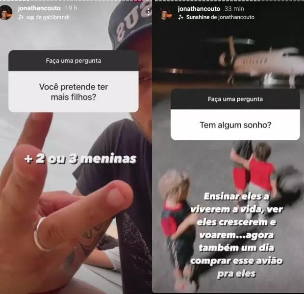 Jonathan Couto responde a perguntas de seguidores (Foto: Reprodução/Instagram)