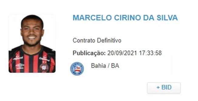 Marcelo Cirino é regularizado pela CBF — Foto: Reprodução
