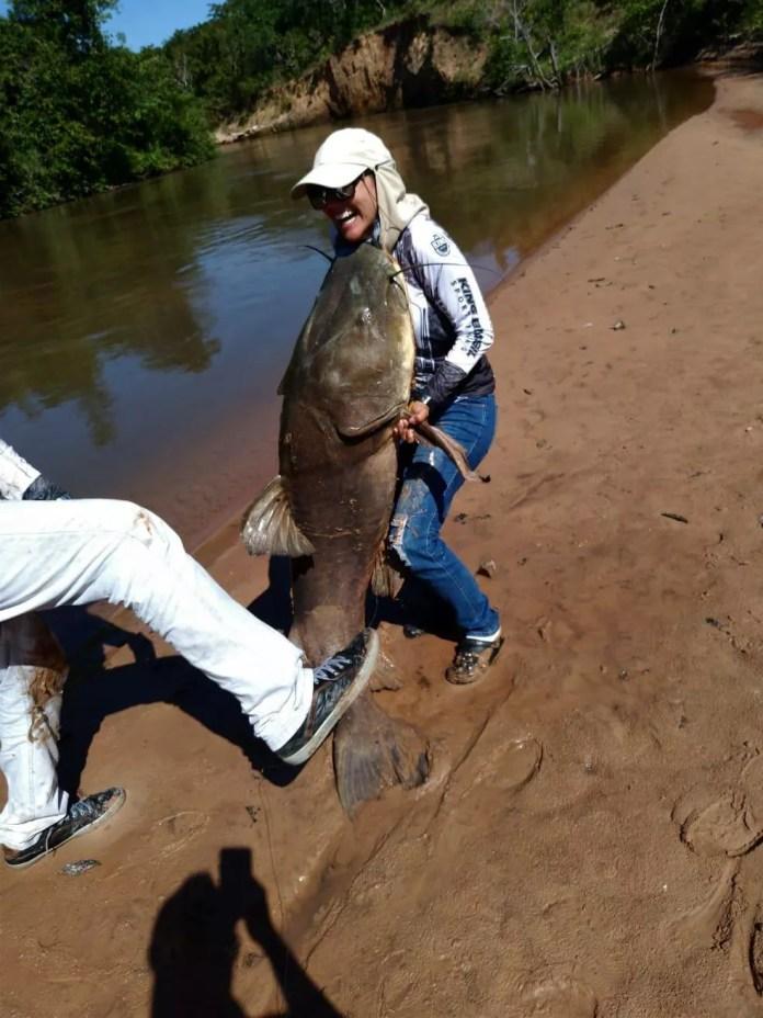 Dentista pesca peixe de 80 kg e 1,73 m em rio de Mato Grosso do Sul. — Foto: MS Todo Dia