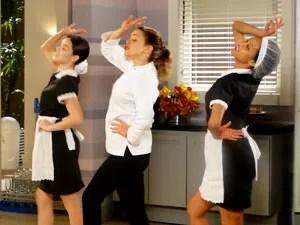 As três roubaram a cena de Isadora (Foto: Cheias de Charme / TV Globo)