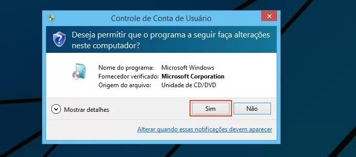 Autorizando o instalador do Windows 7 (Foto: reprodução/Edivaldo Brito)