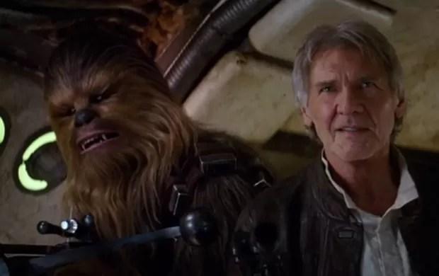 Peter Mayhew e Harrison Ford como Chewbacca e Han Solo no novo teaser de'Star Wars: O despertar da força' (Foto: Reprodução/YouTube)