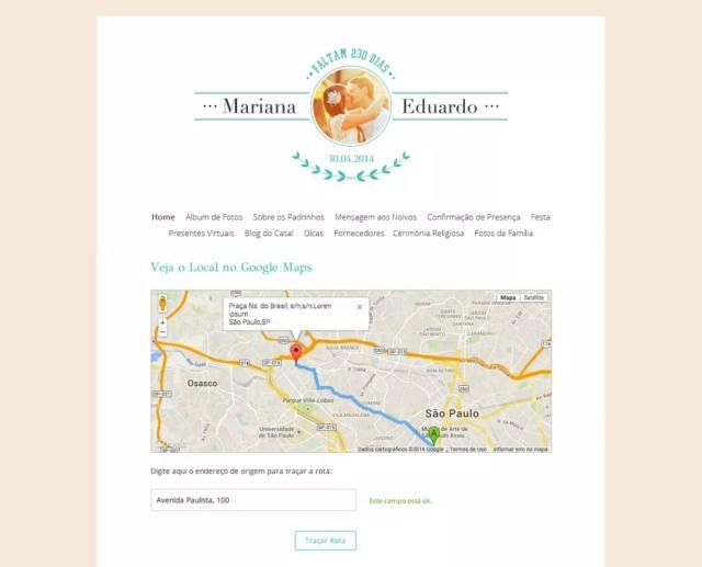 Mapas ajudam a orientar os convidados até o local da cerimônia — Foto: Divulgação/iCasei