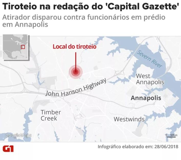 Tiroteio no jornal 'Capital Gazette' (Foto: Infografia: Rodrigo Cunha/G1)