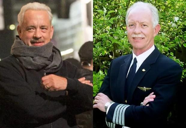 """Tom Hanks mudou visual para encarnar o piloto Chesley """"Sully"""" Sullenberger (Foto: AKM-GSI e Reprodução)"""