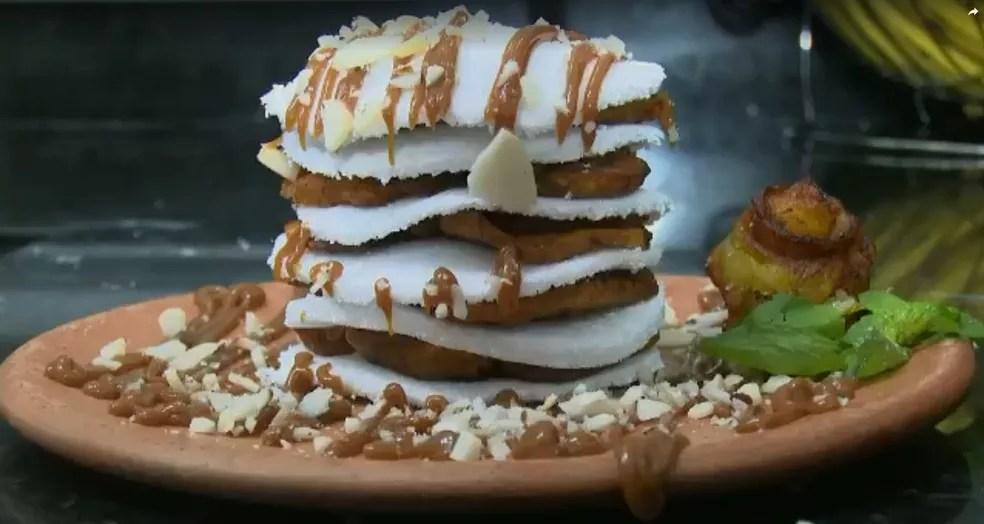 Mil folhas é feito com tapioca, doce de leite, banana frita e castanha do Brasil (Foto: Reprodução/Rede Amazônica Acre)