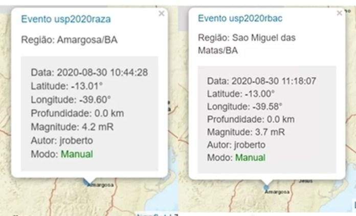 Centro de Sismologia da Universidade de São Paulo também registrou terremoto na Bahia — Foto: Reprodução/Site USP
