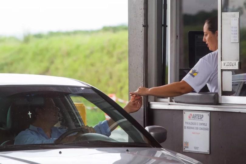 Cobrança de pedágio na Rodovia SP-340, em Jaguariúna (Foto: Du Amorim/ Governo do Estado de São Paulo)