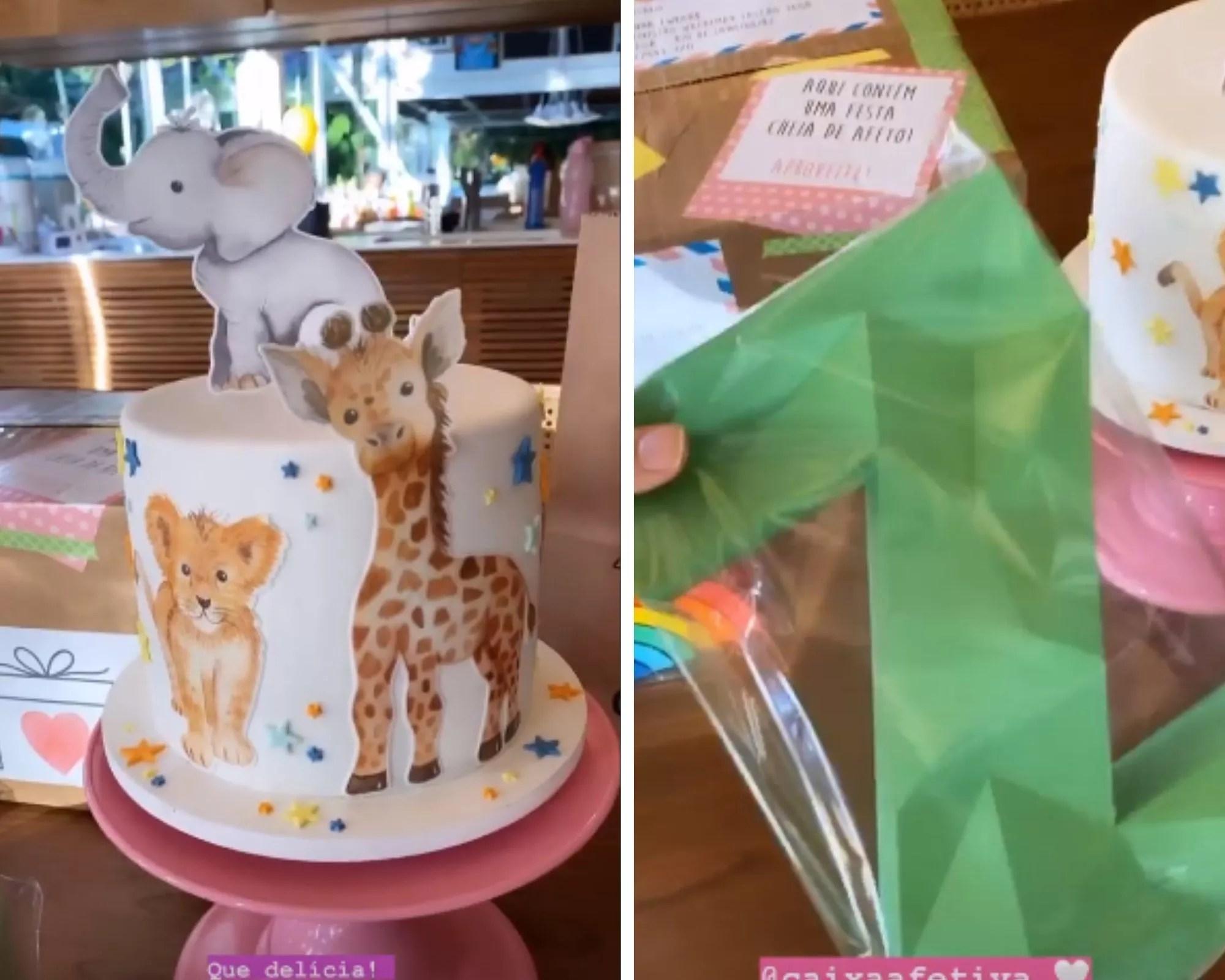 Giovanna Ewbank mostra bolo e enfeites para mesversário de Zyan (Foto: Reprodução/Instagram)