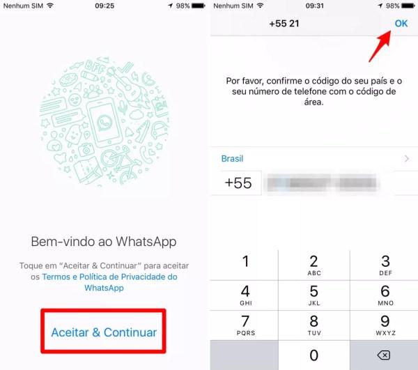 Insira o seu número telefônico no WhatsApp (Foto: Reprodução/Lucas Mendes)