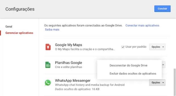 Gerenciando backup do WhatsApp no Google Drive (Foto: Reprodução/Helito Bijora)