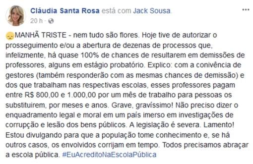 Secretária usou rede social para divulgar a abertura dos processos de demissão (Foto: Facebook/Cláudia Santa Rosa)