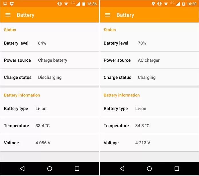 Na imagem, podemos ver a diferença quando a bateria está sendo carregado ou não (Foto: Reprodução)