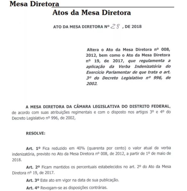 Ato da Mesa Diretora que reduz verba indenizatória em 40%. Foto: Reprodução